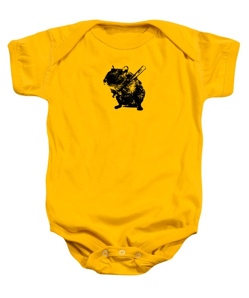 Angry Street Art Mouse  Hamster Baseball Edit  Baby Onesie by Philipp Rietz