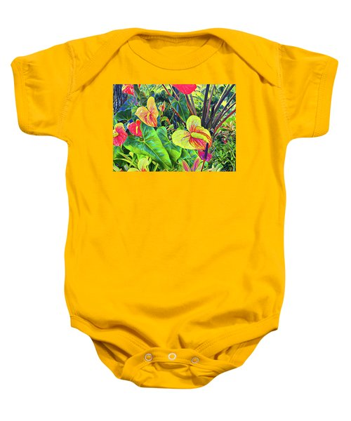 Anthuriums Yellow And Red Baby Onesie