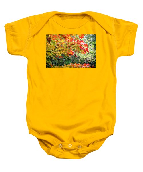 Baby Onesie featuring the photograph Arboretum Autumn Leaves by Peter Simmons