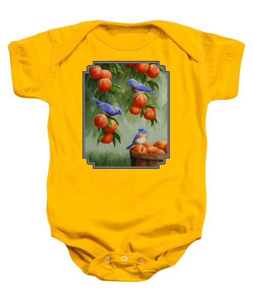 Bird Painting - Bluebirds And Peaches Baby Onesie