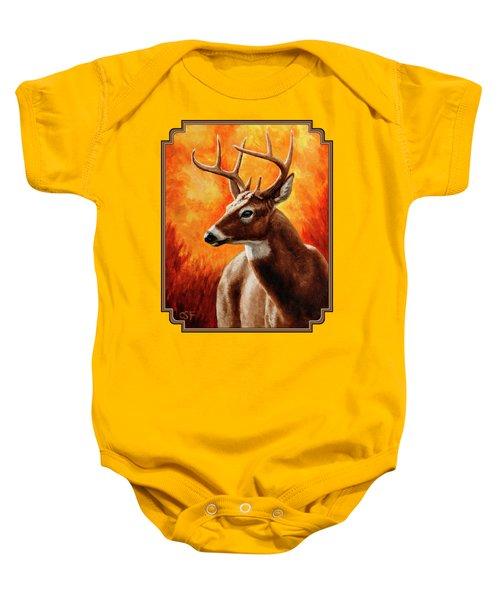 Whitetail Buck Portrait Baby Onesie by Crista Forest