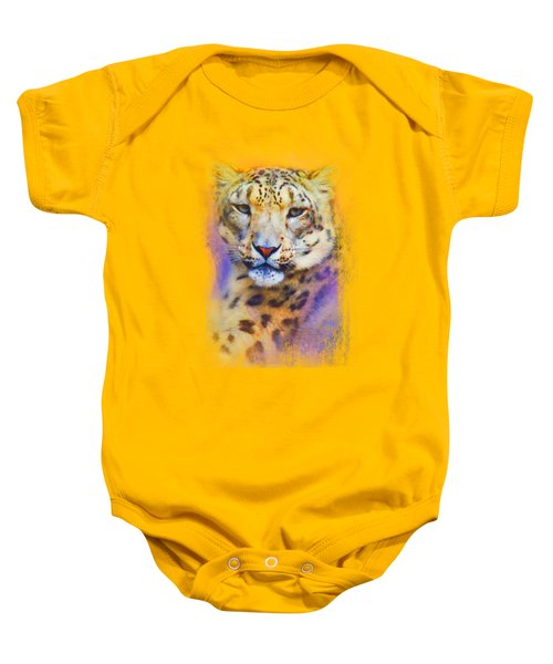 Colorful Expressions Snow Leopard Baby Onesie by Jai Johnson
