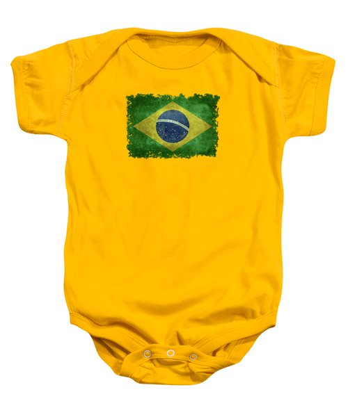 Flag Of Brazil Vintage 18x24 Crop Version Baby Onesie