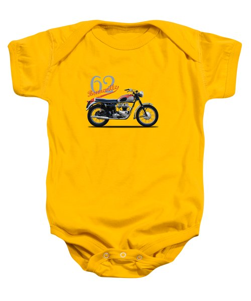 Bonneville T120 1962 Baby Onesie by Mark Rogan