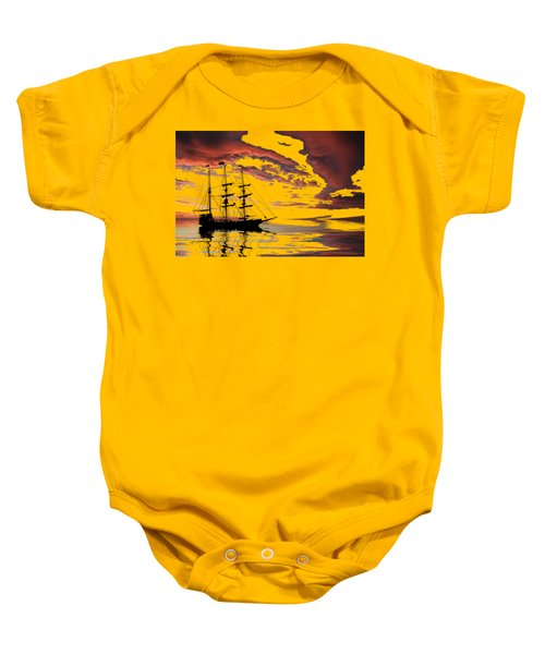 Pirate Ship At Sunset Baby Onesie by Shane Bechler