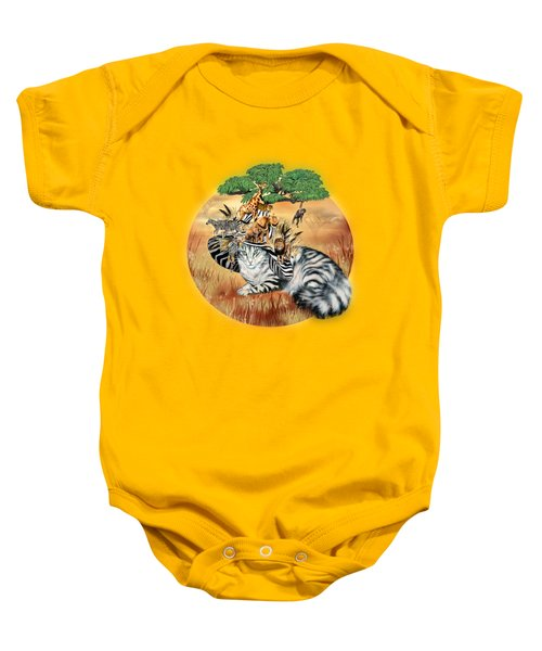 Cat In The Safari Hat Baby Onesie by Carol Cavalaris