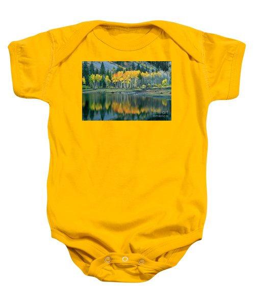 Aspens In Fall Color Along Lundy Lake Eastern Sierras California Baby Onesie