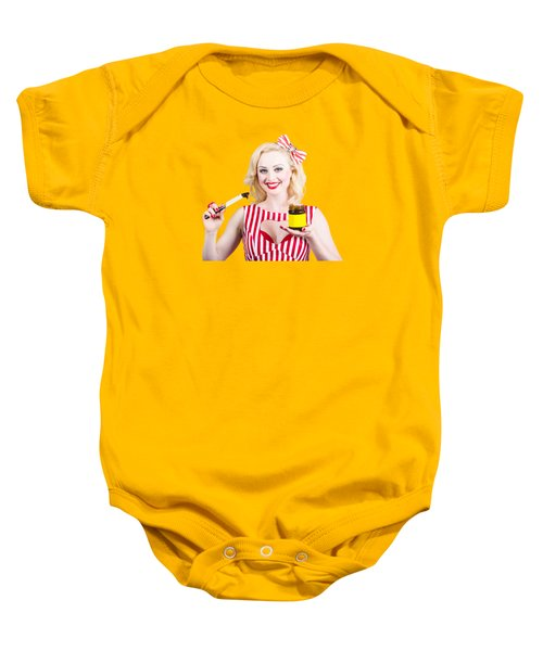 Australian Pinup Woman Holding Sandwich Spread Baby Onesie by Jorgo Photography - Wall Art Gallery