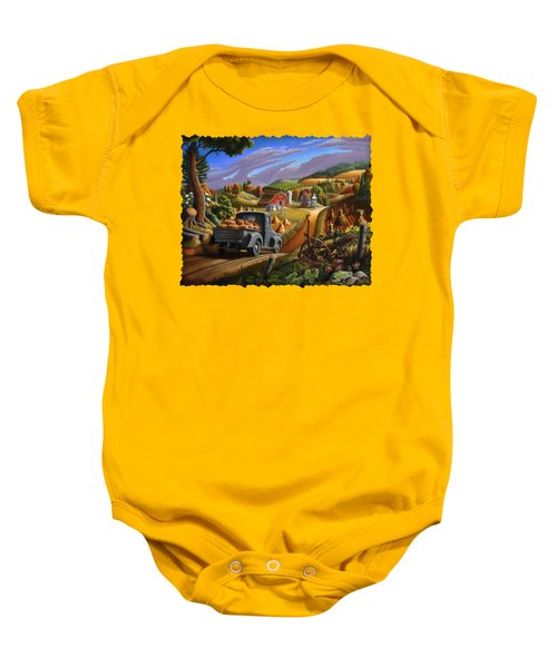 Autumn Appalachia Thanksgiving Pumpkins Rural Country Farm Landscape - Folk Art - Fall Rustic Baby Onesie