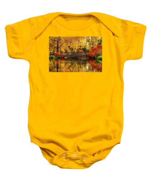 Autumn Color By The Pond Baby Onesie
