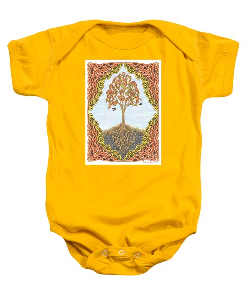 Autumn Tree With Knotted Roots And Knotted Border Baby Onesie