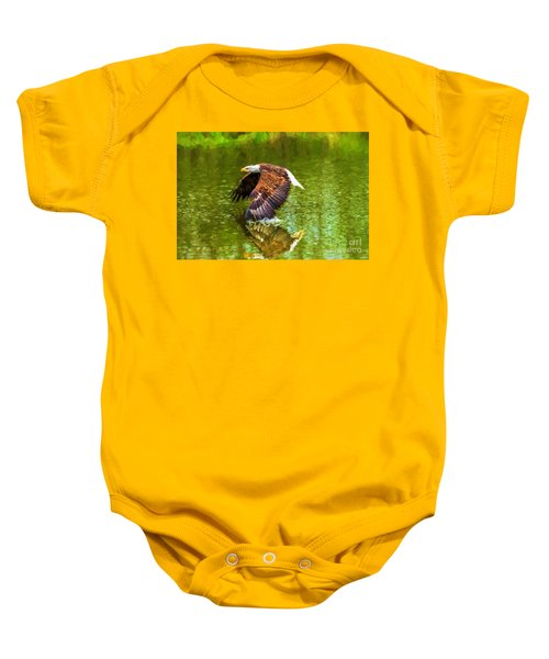 Bald Eagle Cutting The Water Baby Onesie