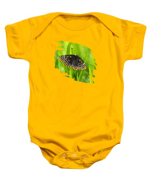 Baltimore Checkerspot Butterfly Baby Onesie by Christina Rollo