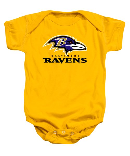 Baltimore Ravens On An Abraded Steel Texture Baby Onesie