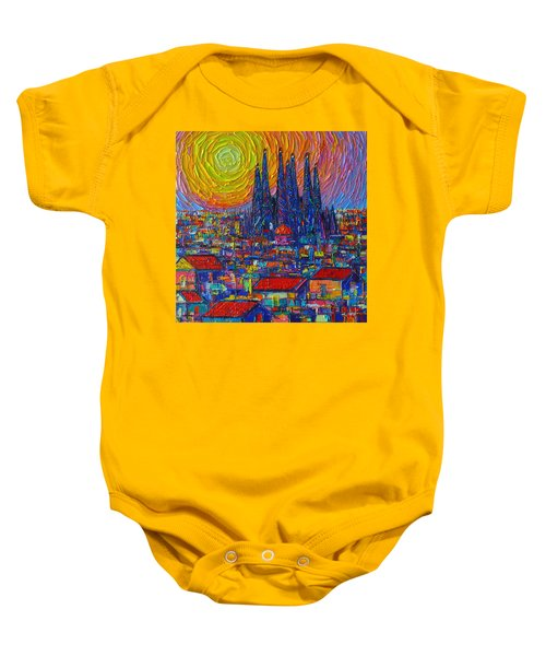 Barcelona Colorful Sunset Over Sagrada Familia Abstract City Knife Oil Painting Ana Maria Edulescu Baby Onesie
