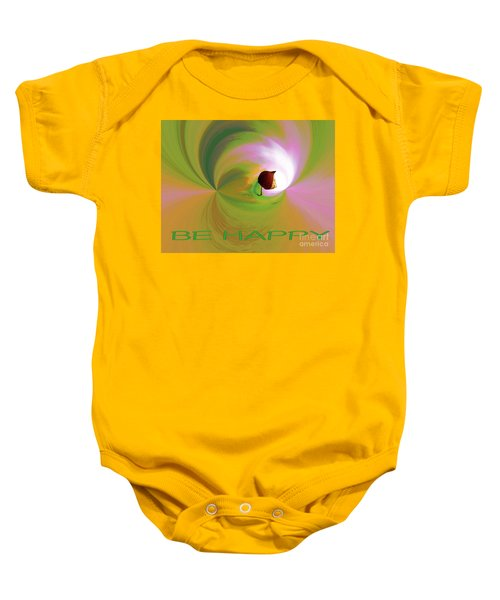 Be Happy, Green-pink With Physalis Baby Onesie