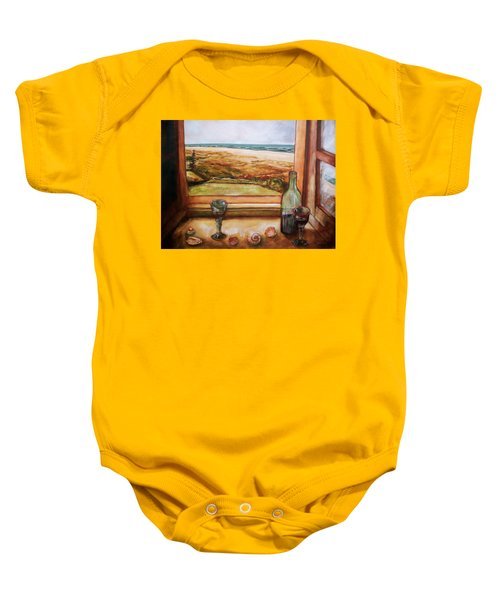Baby Onesie featuring the painting Beach Window by Winsome Gunning