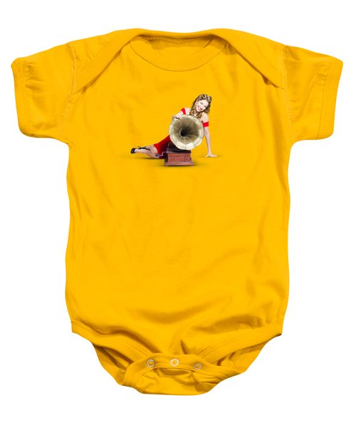 Beautiful Pinup Woman Listening To Old Gramophone Baby Onesie