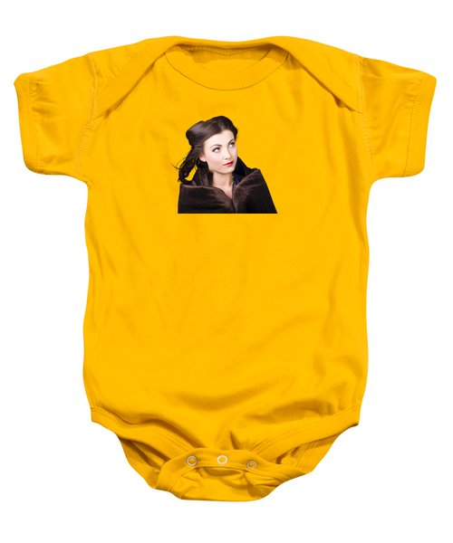 Baby Onesie featuring the photograph Beautiful Winter Woman Isolated On White by Jorgo Photography - Wall Art Gallery