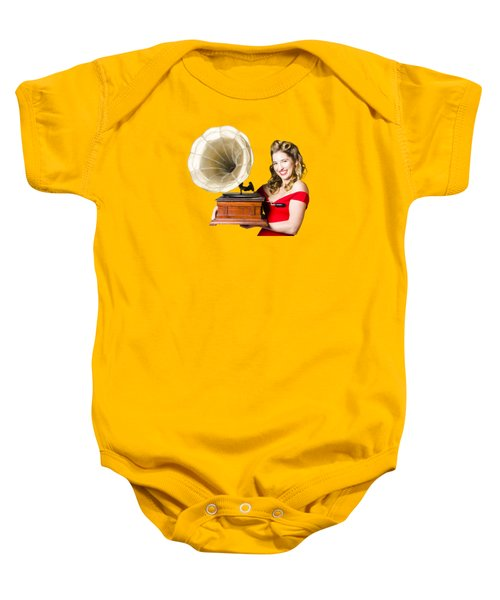 Beautiful Woman With Gramophone Isolated On White Baby Onesie