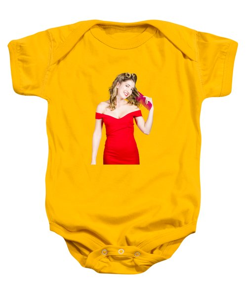 Baby Onesie featuring the photograph Beautiful Woman With Long Curly Hair And Brush by Jorgo Photography - Wall Art Gallery