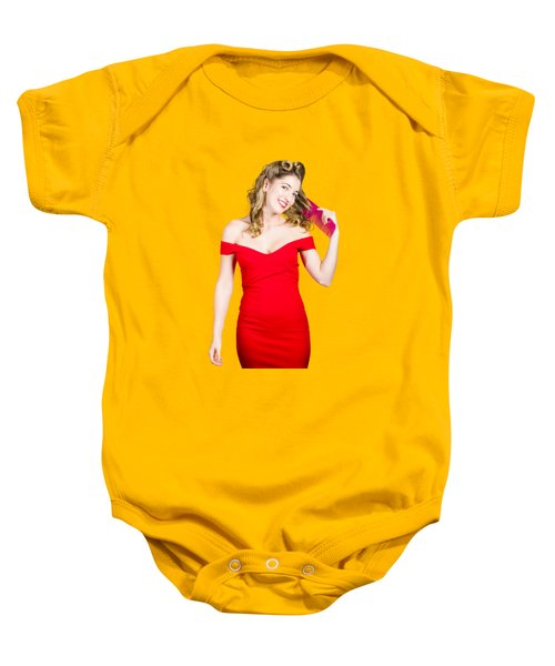 Beautiful Woman With Long Curly Hair And Brush Baby Onesie