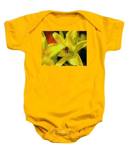 Bee On Yellow Lilly Baby Onesie