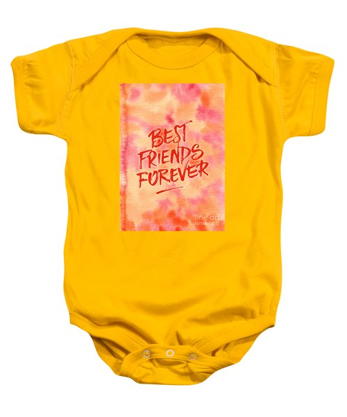 Best Friends Forever Handpainted Abstract Watercolor Pink Orange Baby Onesie