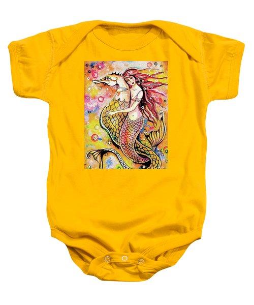 Black Sea Mermaid Baby Onesie by Eva Campbell
