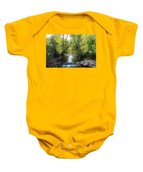 Boulder Creek Tumbling Through Early Fall Foliage Baby Onesie