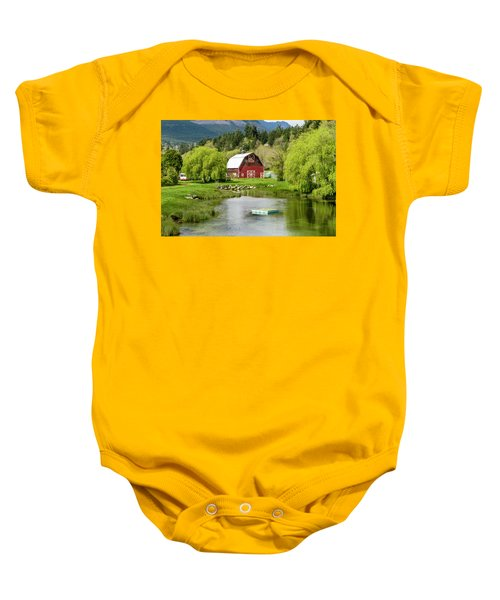 Brinnon Washington Barn By Pond Baby Onesie