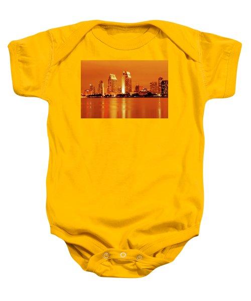 Bronze San Diego Skyline Baby Onesie