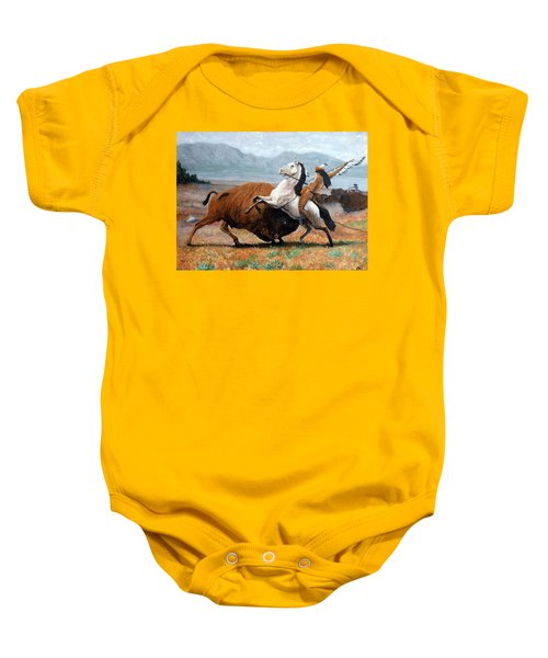 Buffalo Hunt Baby Onesie by Tom Roderick