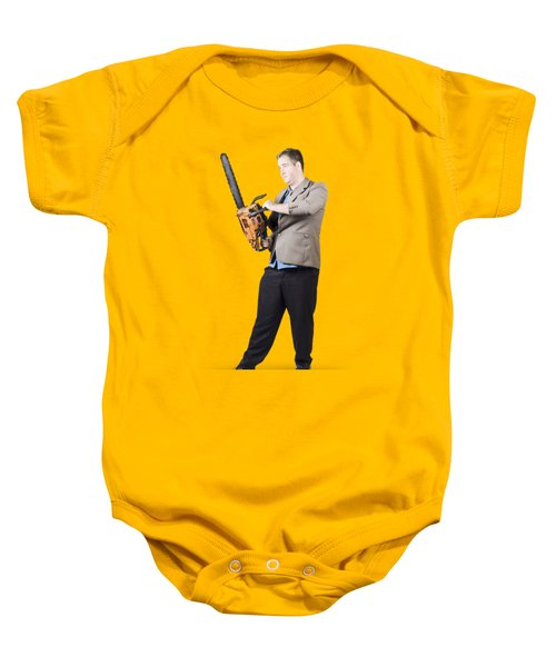 Baby Onesie featuring the photograph Businessman Holding Portable Chainsaw by Jorgo Photography - Wall Art Gallery