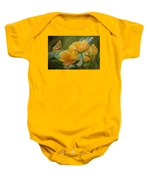 Butterfly Among Yellow Flowers Baby Onesie