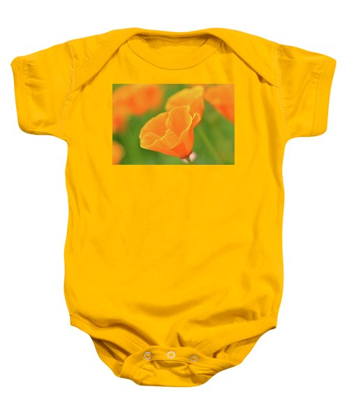 California Spring Poppy Macro Close Up Baby Onesie