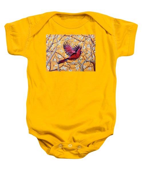 Cardinal In Flight Baby Onesie by Teresa Wing