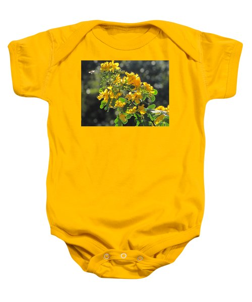 Catchlight Bee Over Yellow Blooms Baby Onesie