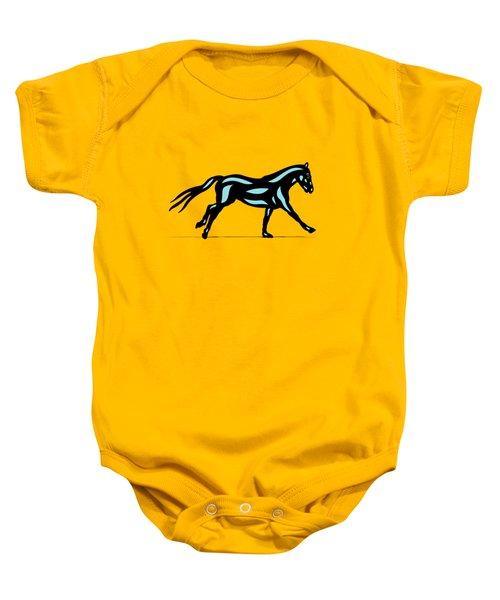 Clementine - Pop Art Horse - Black, Island Paradise Blue, Primrose Yellow Baby Onesie