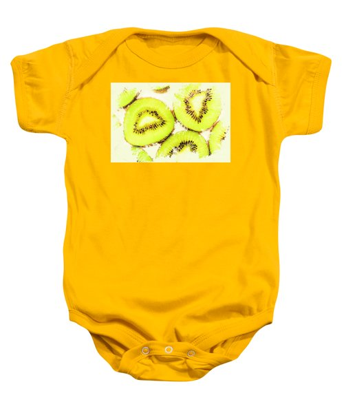 Close Up Of Kiwi Slices Baby Onesie by Jorgo Photography - Wall Art Gallery