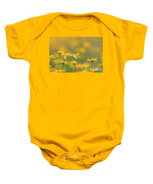 Close Up Of Yellow Flower With Blur Background Baby Onesie