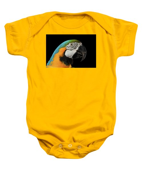 Closeup Portrait Of A Blue And Yellow Macaw Parrot Face Isolated On Black Background Baby Onesie