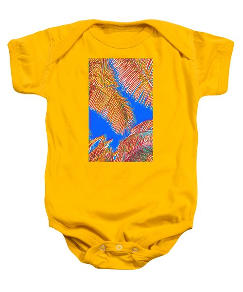 Coconut Palms In Red And Blue Baby Onesie
