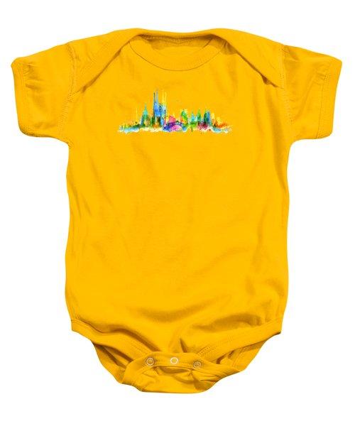 Color Barcelona Skyline 01 Baby Onesie by Aloke Creative Store