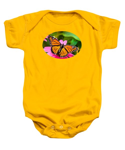 Colorful Butterflies - Orange Viceroy Butterfly Baby Onesie by Christina Rollo