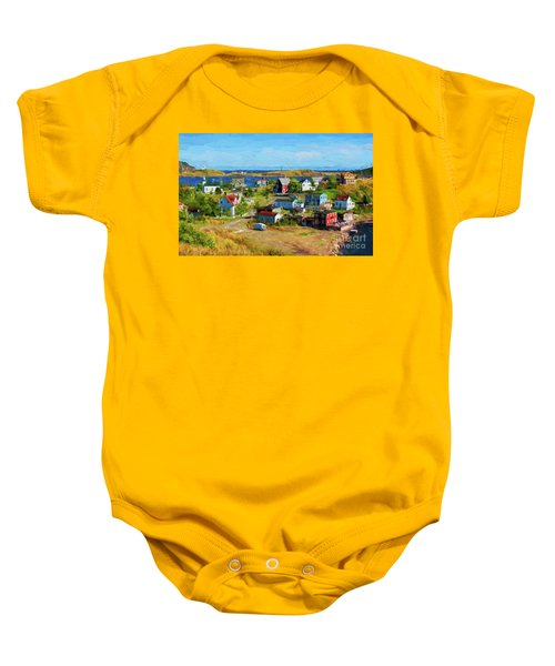Colorful Homes In Trinity, Newfoundland - Painterly Baby Onesie