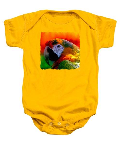 Colorful Macaw Parrot Baby Onesie by Linda Koelbel