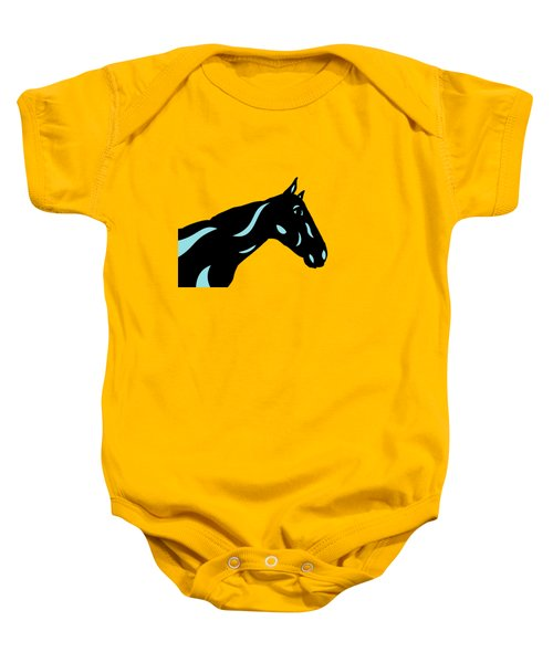 Crimson - Pop Art Horse - Black, Island Paradise Blue, Primrose Yellow Baby Onesie