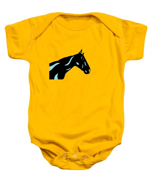 Crimson - Pop Art Horse - Black, Island Paradise Blue, Primrose Yellow Baby Onesie
