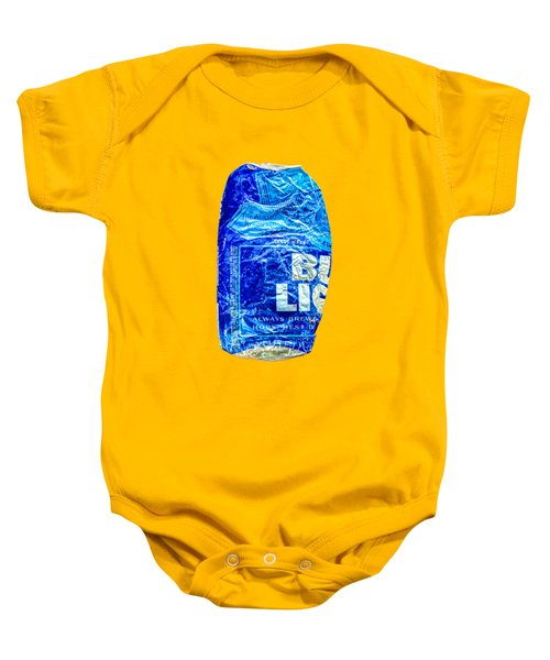 Crushed Blue Beer Can On Plywood Baby Onesie